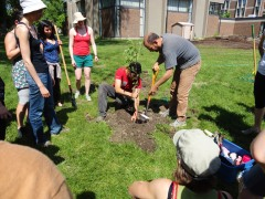 Marcus and I demonstrating tree planting techniques.