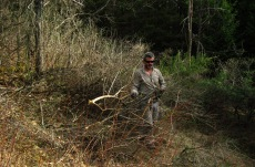 Phillipe, founder and planner at Terra Perma, clearing brush.
