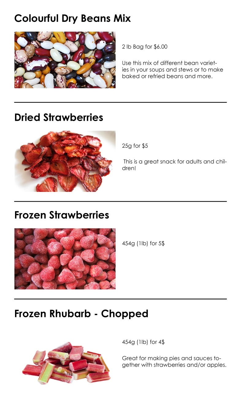 Dried and frozen fruits and vegetables