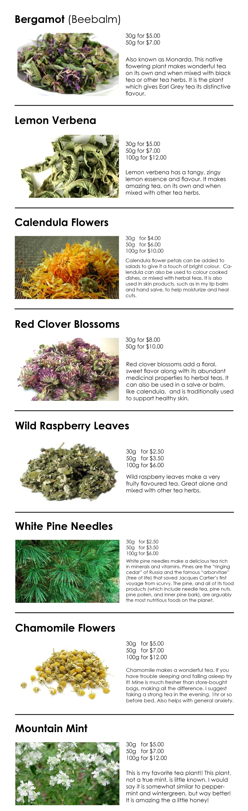 Dried Tea Herbs and Flowers